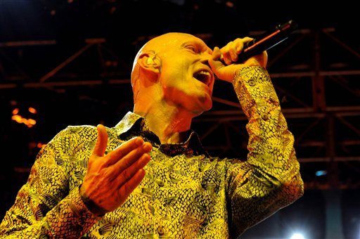 Peter Garrett performs with Midnight Oil on March 12, 2009