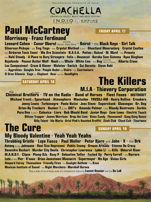 Coachella Webcast to feature sets by The Cure, Morrissey, Bob Mould