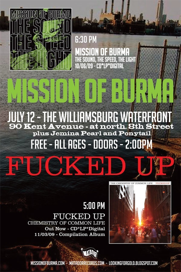 Mission of Burma / Fucked Up concert poster, via Matablog