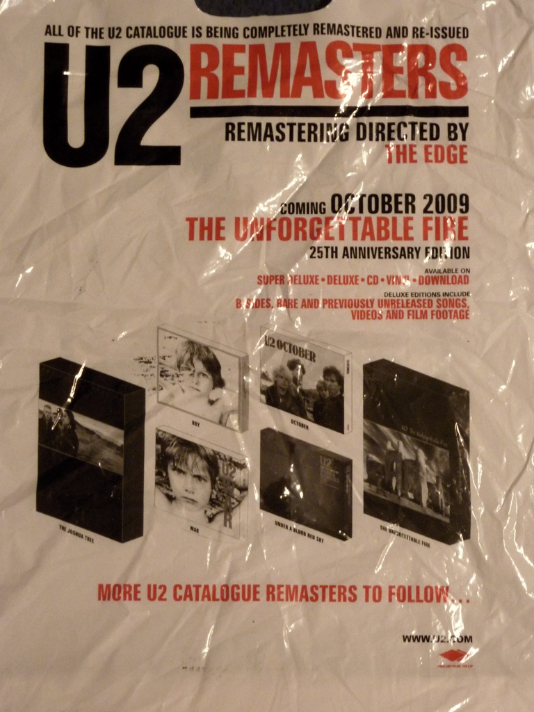 U2 announces 'The Unforgettable Fire' reissue box set via plastic shopping bag