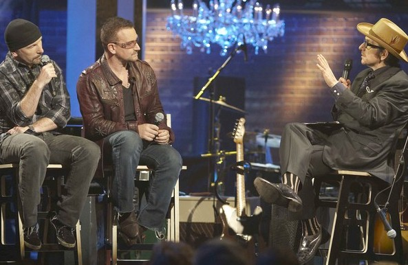 Video: Elvis Costello and U2's Bono, The Edge mash up 'Pump It Up' and 'Get On Your Boots'
