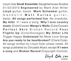 Lloyd Cole releases Small Ensemble acoustic CD, begins work on next studio album