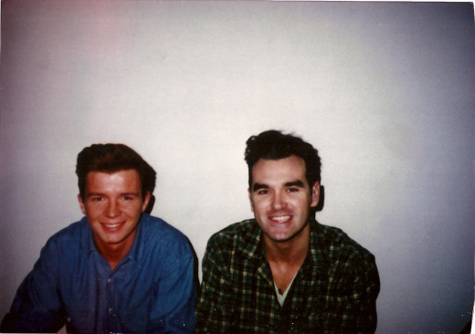 Morrissey and Rick Astley backstage at 'Top of the Pops'