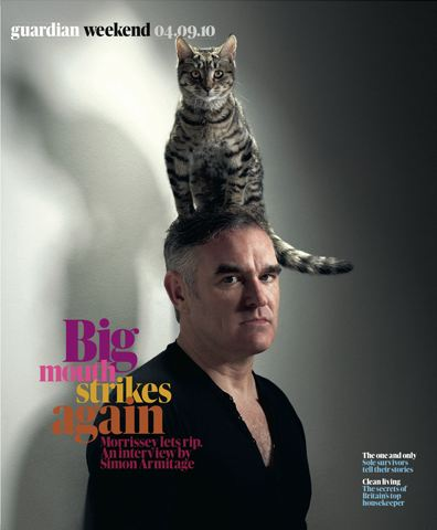 Morrissey wears a cat on his head, says 'the Chinese are a subspecies' in the Guardian