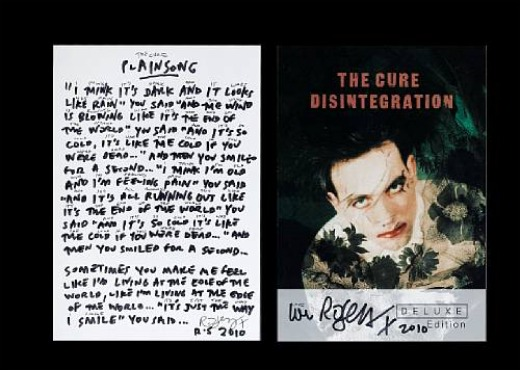 The Cure, 'Plainsong' lyric sheet
