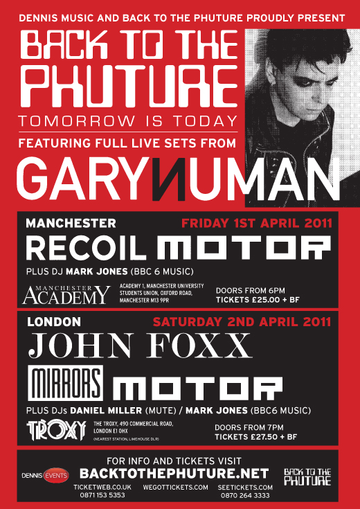 Contest: Win tickets to Back To The Phuture with Gary Numan, John Foxx in London