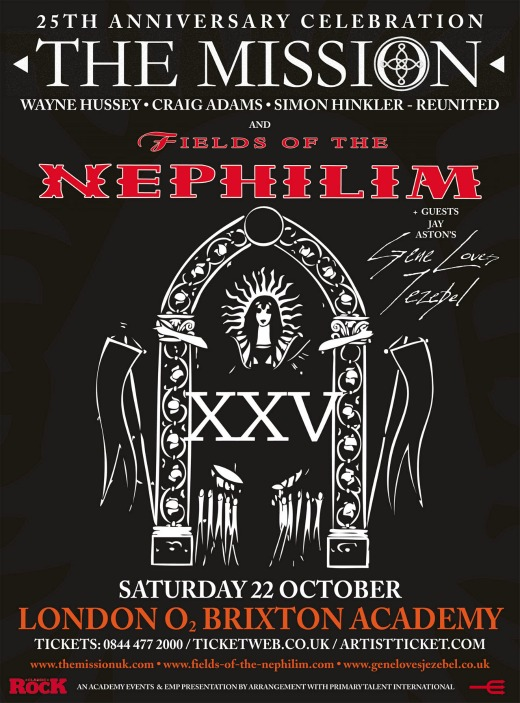 The Mission taps Fields of the Nephilim, Gene Loves Jezebel for 25th anniversary concert