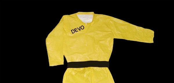 Dress up like Devo for Halloween with official yellow jumpsuits and energy domes