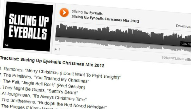 Download: Slicing Up Eyeballs Christmas Mix 2012 — 97 minutes of holiday cheer