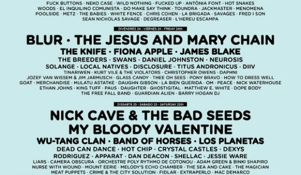 The Jesus and Mary Chain, Nick Cave, My Bloody Valentine, Blur headlining Primavera Sound