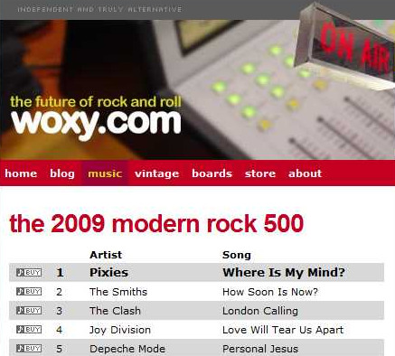 Pixies' 'Where Is My Mind?' tops WOXY's 20th annual Modern Rock 500 countdown