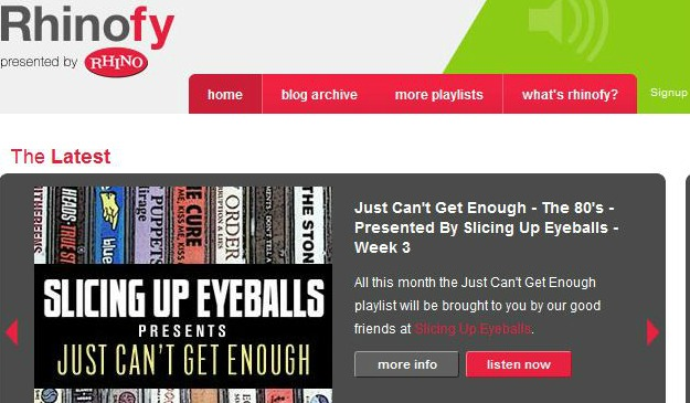 Spotify playlist: Rhino's 'Just Can't Get Enough — The '80s,' by Slicing Up Eyeballs (Week 4)